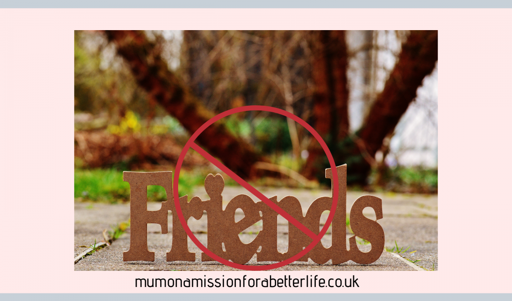 The word friends inside a red circle with a line crossed through