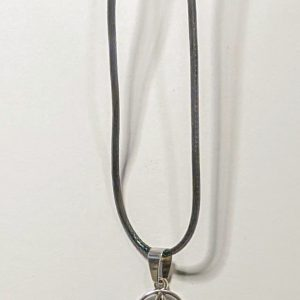 Pentagram charm on a black corded necklace