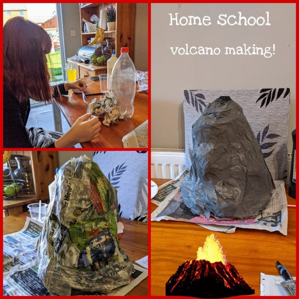Showing the stages of making a homemade volcano