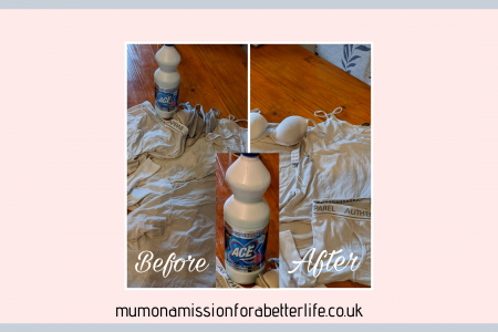 Ace bottle between before and after photos of laundry