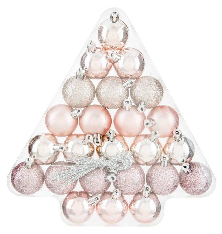 Pack of pastel pink Christmas tree baubles