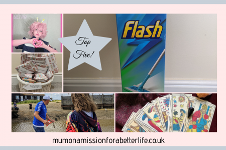 Pictures of the top five blog posts of 2020. A flash mop, a girl in cosplay, a basket of presents, a girl on the beach crabbing and a tarot deck
