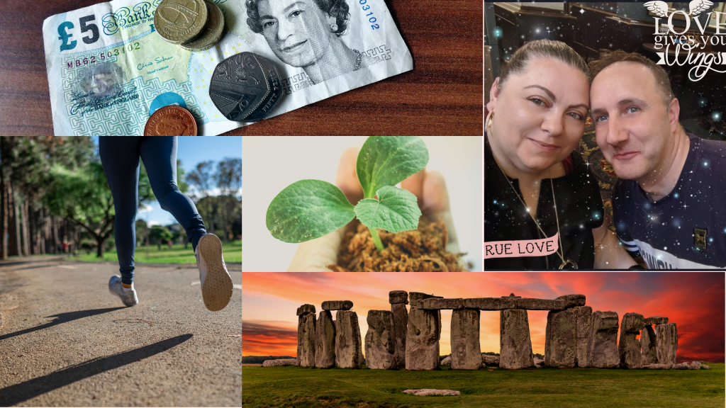 4 images surrounding a plant growing in soil in a hand. Image one: Five pound note and coins. Image two: Legs running along a road. Image three: Myself and my husband in each others arms. Image four: Stonehenge