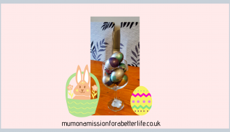 A large glass filled with fortune eggs for Easter