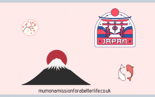 Japan symbols such as koi fish, a mountain with a red circle behind it.