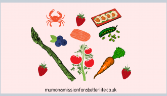 Summer food. Strawberries, asparagus, crab, blueberries, salmon, peas, tomatoes, Scallops,