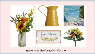 five summer decor images - sunflowers in a vase, a mustard yellow milk jug, a posy of sunflowers, a painting of the beach and a wooden sign with lemons
