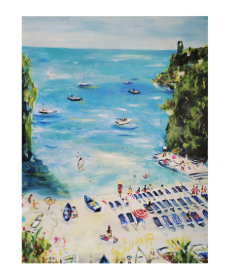 A art picture of the sea and beach with people enjoying the summer