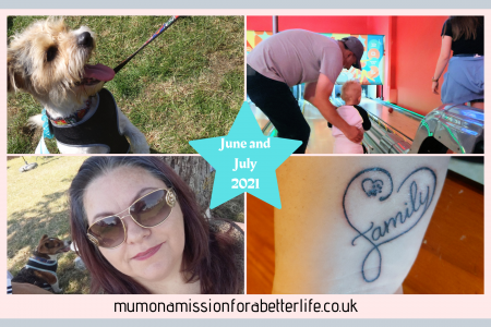 Four pictures in a square. Top left - a Jack Russel cross breed dog wearing a 2nd place ribbon. Top right - A man helping a small boy bowl in a ten pin bowling alley. Bottom left - lady wearing sunglasses. Bottom right - A new tattoo, just done. It says family with a heart surrounding it and a paw print.