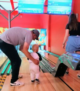 Family bowling at the seaside