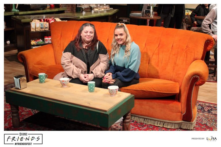 Mother and daughter sitting on the couch in central perk friends tv show
